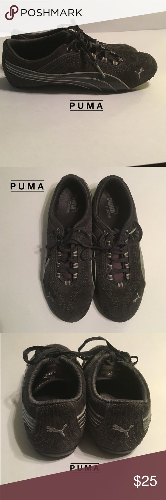 Puma Ladies S:8 Charcoal Gray w light gray on gray Puma Ladies Size: 8 Charcoal Gray tennis shoes. w light gray on gray stripes on sides. Charcoal gray shoelaces. Good condition. Puma Shoes Sneakers