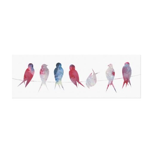 Birds on wire Panoramic canvas print 36x12 inches