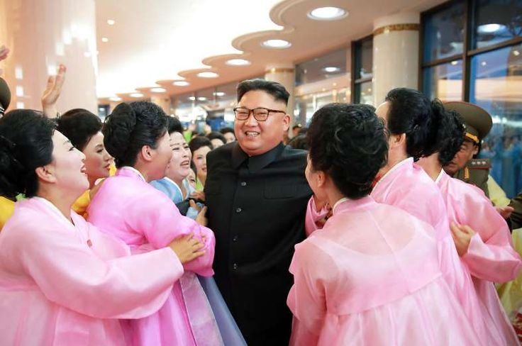 Performers meet North Korean leader Kim Jong-Un at an art performance staged by the amateur art groups of the Korean People's Army (KPA) units in Pyongyang July 16, 2016.