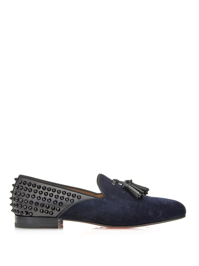 $1,074, Navy Suede Tassel Loafers: Christian Louboutin Tassilo Studded Loafers. Sold by MATCHESFASHION.COM. Click for more info: https://lookastic.com/men/shop_items/186109/redirect
