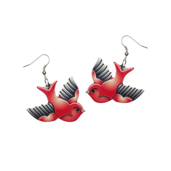 "Today's product is the ""Candy Jo Sparrow"" Earrings ($18.95) http://aslanandleo.com/?product=candy-jo-sparrow-red-resin-earrings by Erstwilder from the #Retro range."