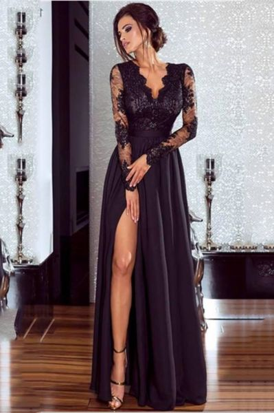 Chicloth A-line Long Sleeves V-neck Split Floor-Length Lace Appliques Prom Dresses
