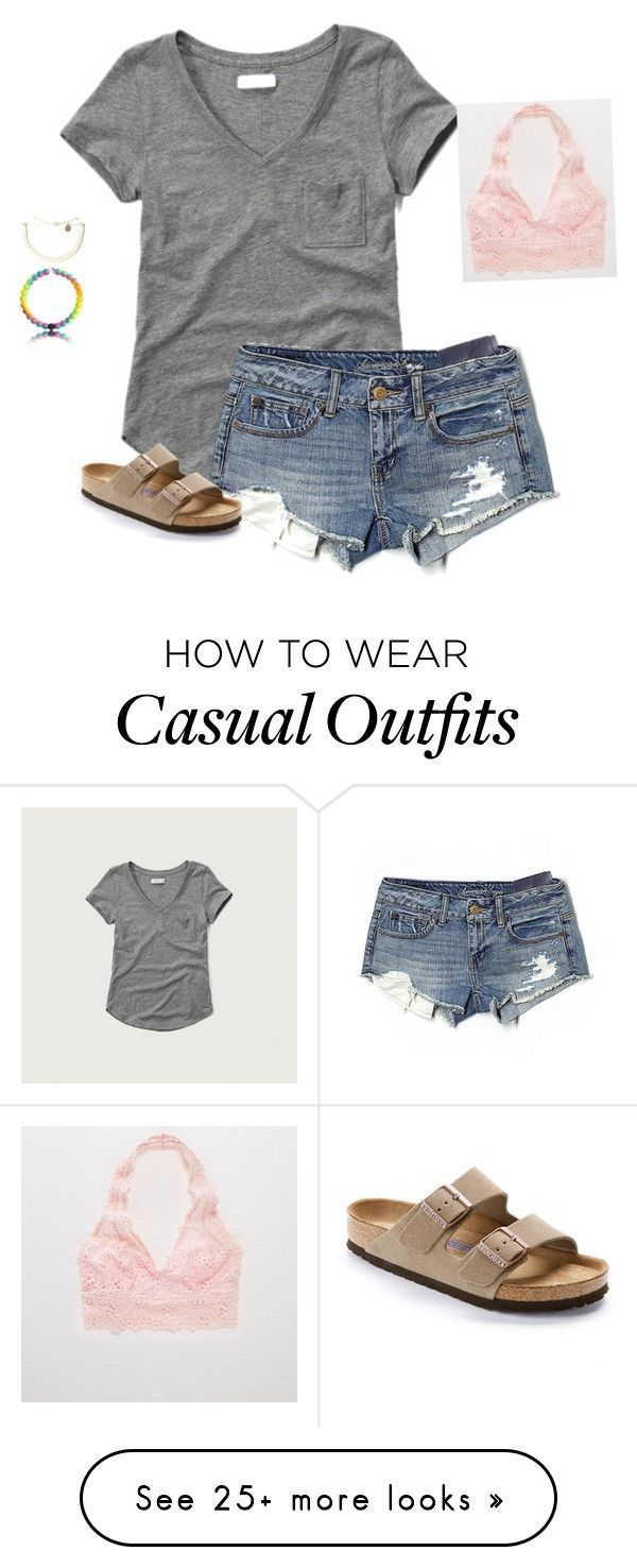 """Casual Tuesday"" by frenchxvqnilla on Polyvore featuring Abercrombie & Fitch, Aerie, American Eagle Outfitters, Birkenstock and jeanshorts #americaneagleoutfitters"