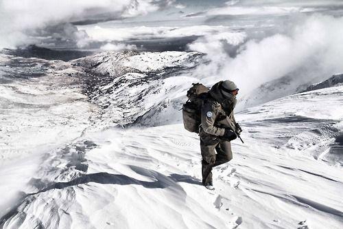 Austrian UNDOF peacekeeper patrolling the Golan Heights in 2012