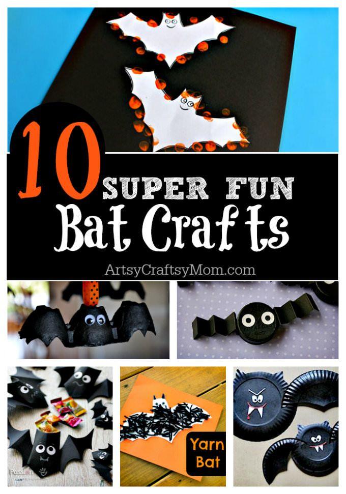 10 Easy Halloween Bat Crafts for Kids - Bats Art Projects, Toilets Paper Roll Bats, Foam Bats. Hang around the house as October is Bat Appreciation Month