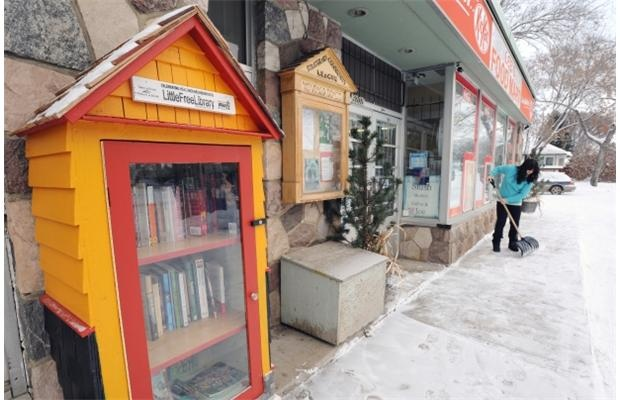 Edmonton's first Little Free Library was placed in front of Massage Therapy Supply on 95 Ave and 92 Street, built by the store's owners.
