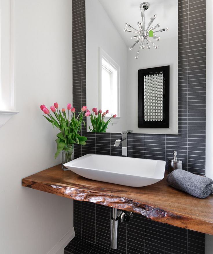Jodie Rosen Design: Incredible Bathroom Design With Live Edge Wood Slab  Sink Console. A Modern White Vessel . Iu0027m A Sucker For Anything Made From  Live Edge ...