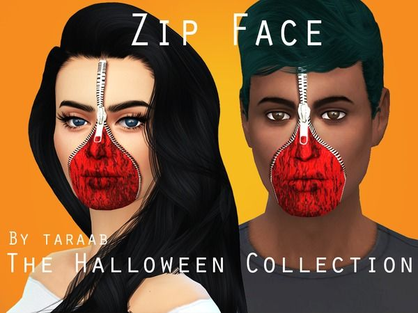 The Sims Resource: The Halloween Collection - Zip Face by taraab • Sims 4 Downloads
