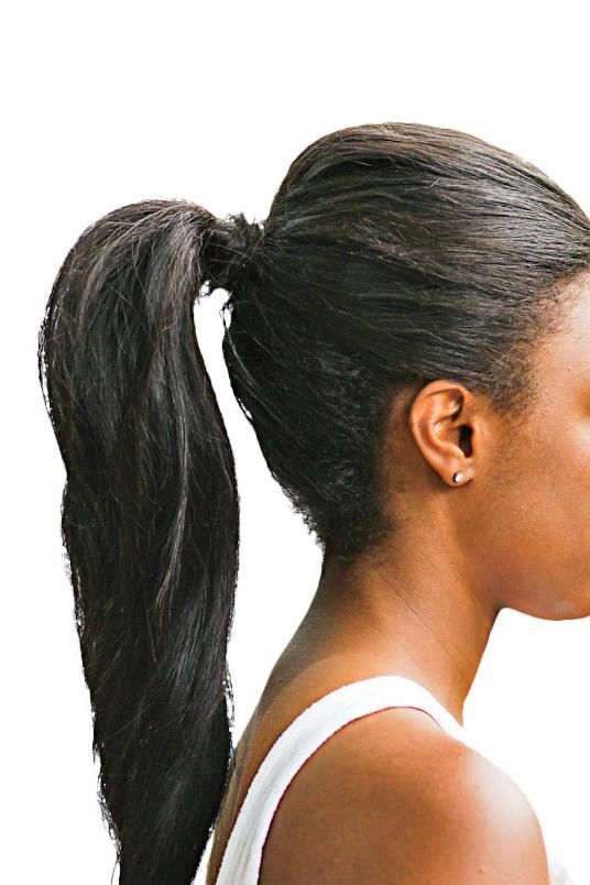 Long, bouncy hair calls for a sleek ponytail.     Watch Video: The Three-Step Ponytail
