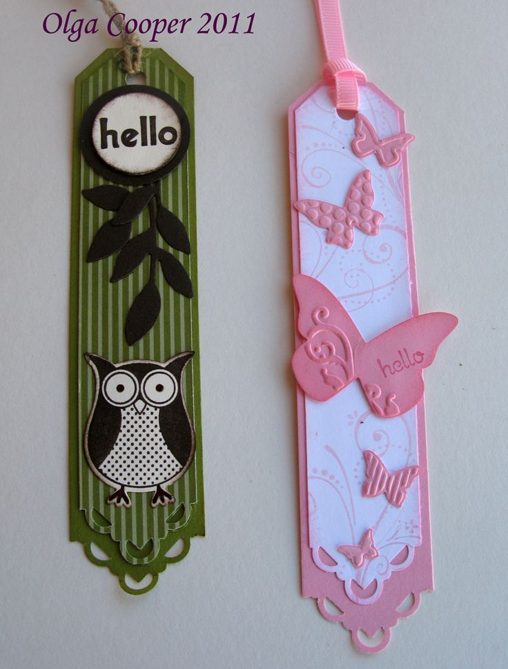 """4/4/2011; Olga Cooper at """"Oggi's Obsession!"""" Blog; these bookmarks were made with creative punching using corner punches; photo tutorial"""