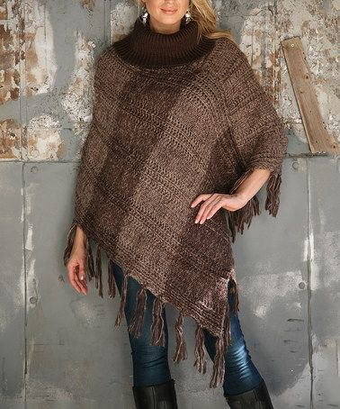 Look at this #zulilyfind! Brown Variegated Cable-Knit Turtleneck Poncho #zulilyfinds