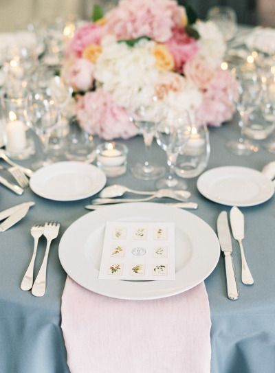 Gray and pink: http://www.stylemepretty.com/2014/11/24/elegant-outdoor-provence-wedding/ | Photography: O'Malley - http://omalleyphotographers.com/