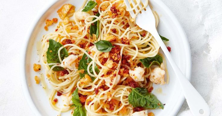 If you need dinner in a hurry, this prawn and chorizo spaghetti is fast to whip up and uses simple ingredients.