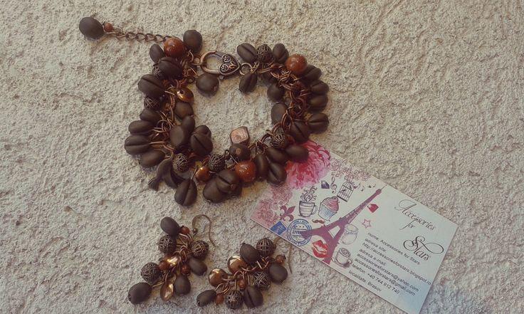 http://accessoriesforstars.blogspot.ro/2015/01/set-arabic-coffee.html #coffee #bracelets #earrings #sets #polymer #jewellery #jewelry #accessoriesforstars #bronze #pendants