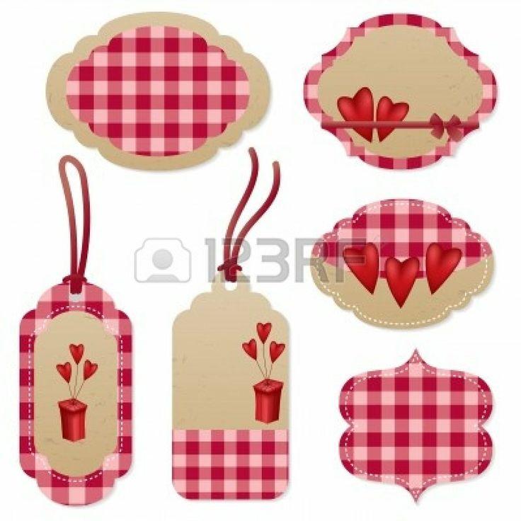 Niza etiquetas rojas para el Día de San Valentín Foto de archivo - 11529680