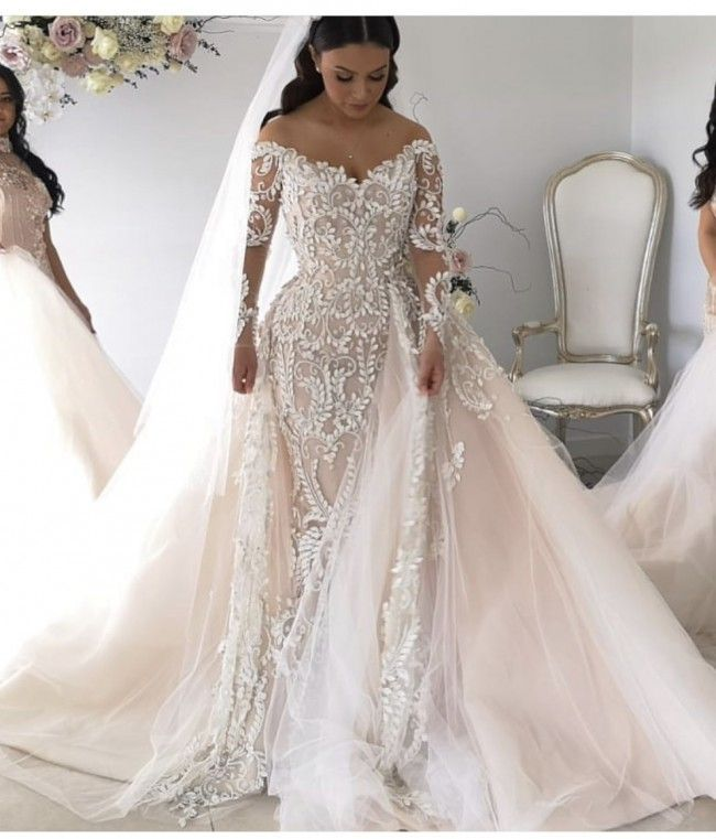 This couture long sleeve  bridal gown has  pretty embellishments all over  the  fashion design. This off the shoulder  wedding dress can be made as  shown or ... 9c905ace8a85