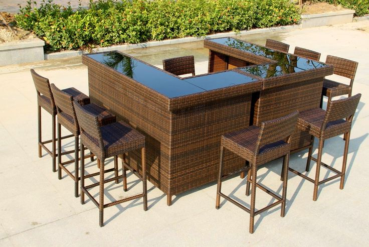 large 39 u 39 shape bar in mixed brown rattan with stools