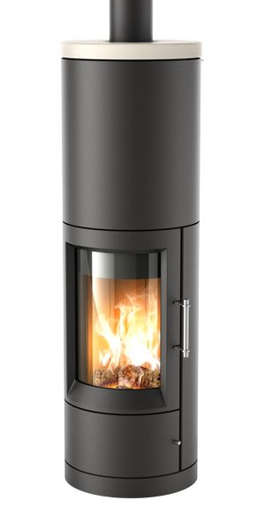 Ottawa wood stove by Hase Kaminofenbau :: Made in Germany :: Dimensions (H-W-D) 156 x 48 x 48 cm • Output 3-7 KW • Weight 319/324/343 kg :: Steel comes in various colors, as do ceramic or soapstone top :: Heat storage block sits atop the fireblock :: Combustion keeps window clear :: Efficiency = 80%