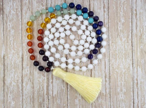 108 Mala Bead, Tassel Bead Necklace, Mala Necklace, Yoga Necklace, Bead Tassel Necklace, Gemstone Necklace, Bohemian Necklace,Christmas Gift