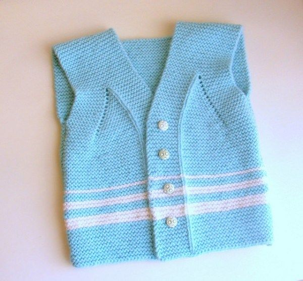 Knit a super cute garter stitch vest for a 12 to 18 month old.