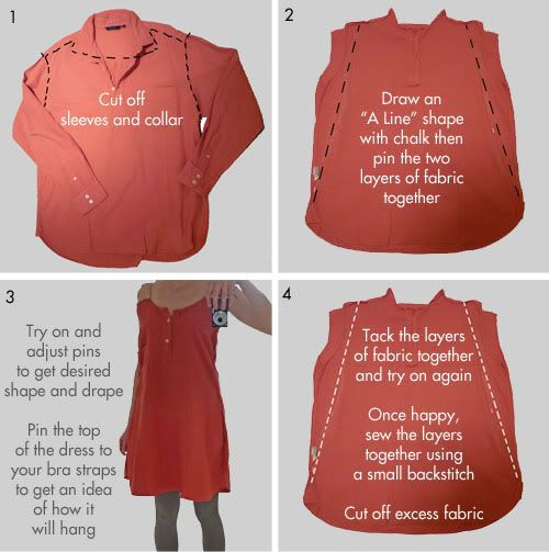 how to make a cute dress from a mens shirt.