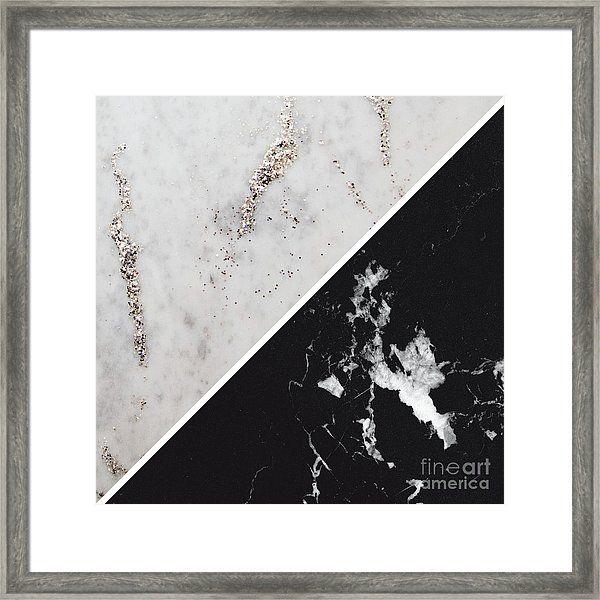White Glitter Marble Meets Black Marble 1 Decor Art Framed Print By Anitas And Bellas Art Framed Prints White Glitter Black Marble