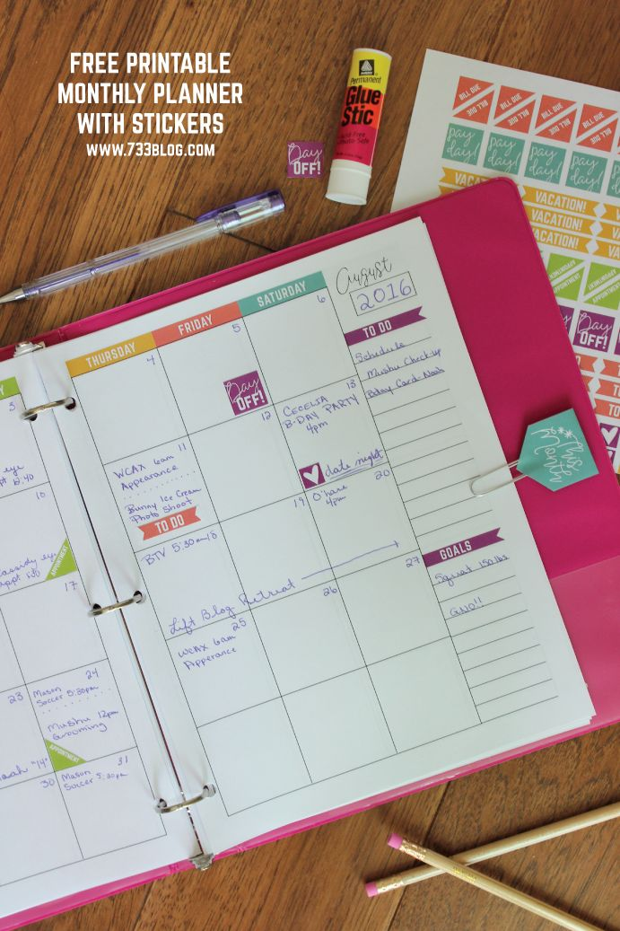 Get organized for back to school or for the year ahead with these free printable monthly planner and planner stickers from the 733 Blog. Each calendar page has the preprinted month and the rest of the page is blank to allow you to fill in the year and dates. The printable stickers work perfect on Avery Full-Sheet Labels.