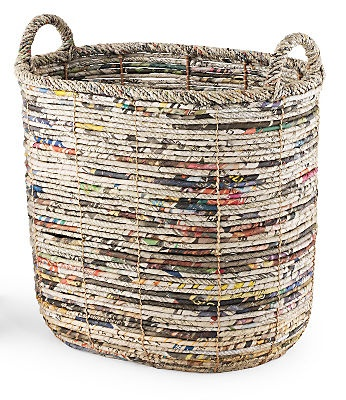 Recycled Newspaper Oval Storage Basket