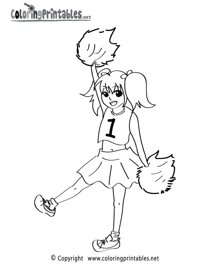 Cheerleading Coloring Page A Free Girls Coloring Printable Coloring Pages For Girls Cute Coloring Pages Coloring Pages
