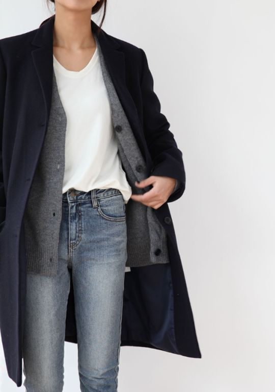white tee + short grey cardigan + blue jeans + black 3/4 length coat