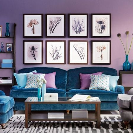lilac living room....Naples Sunset 1391 by Benj. Moore (really like the turquoise couch)