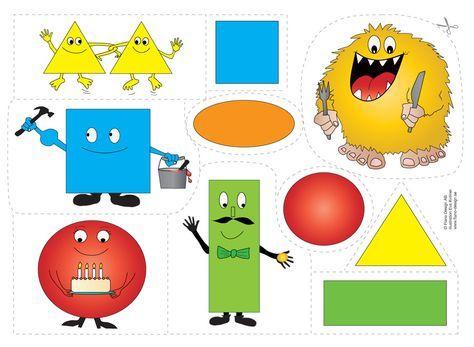 """Bjud """"formmonstret"""" på lunch. Vad sägs om en gul triangel? Eller ramsan om """"gubben fyrkant"""" m.m. Roliga flanobilder som öva färg och form med ramsor."""