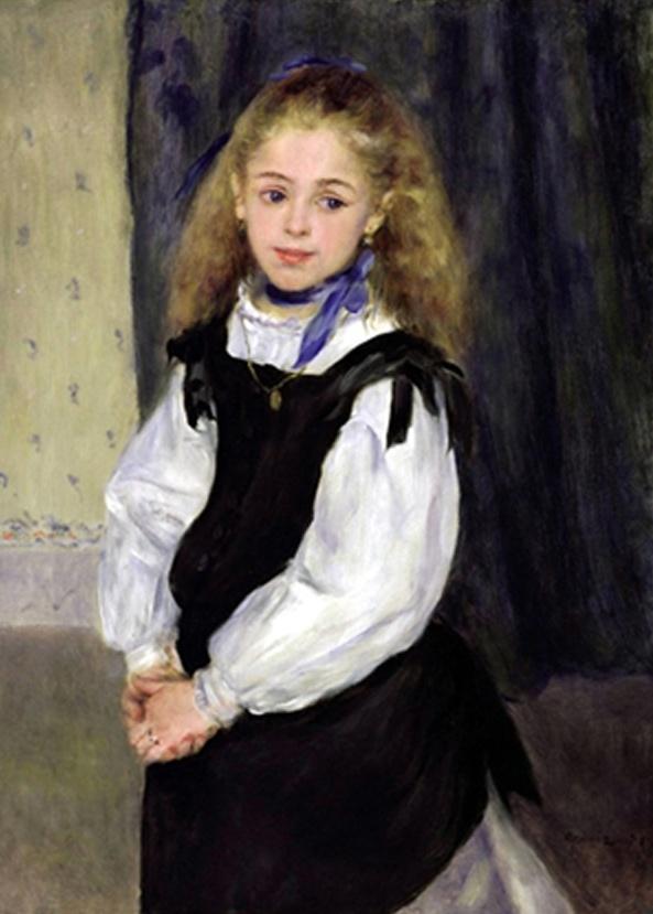 6. 르누아르 - 르그랑양의 초상  이작품은 르누아르의 초기작품으로 초상화의 주인공은 여덟살 아델핀 르그랑이다. 르누아르가 어떤 인연으로 르그랑의 초상화를 그렸는지는 알수없으나 그당시 소시민 계급에 속해있던 르그랑의 부모가 몇몇의 예술가들과 친분관계가 있었다고 전해지고있다. 훗날 이 소녀의 결혼식에 참석할 만큼 르누아르가 돈독한 애정을 가지고 있었음에 분명하다. 풍성한 금발고 수줍은 듯한 시선, 밋밋한 배경 덕분에 돋보이는 스카프가 인상적인 작품이다.