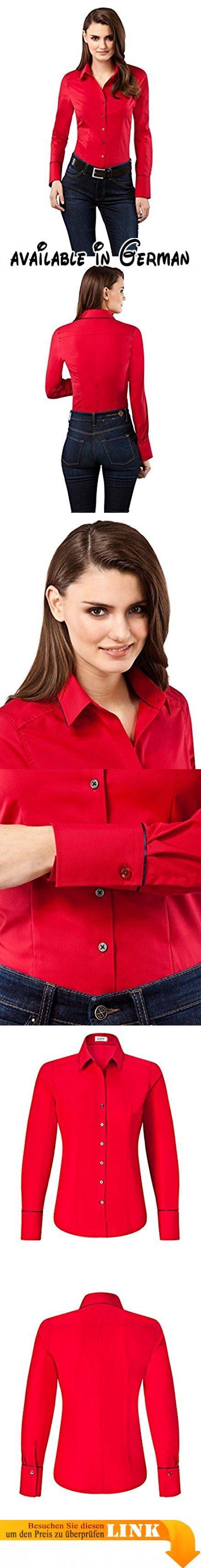 Vincenzo Boretti Damen Bluse Modern Fit Uni Bügelfrei Langarm,rot,34. modern-fit, formgebende Taillenabnäher, Knopfleiste, Kentkragen, lange Manschetten, Langarm, Ärmel mit Knopfleiste, unterstes Knopfloch horizontal geschnitten, Ersatzknöpfe, bügelfrei, bügelfrei - nach dem Waschen tropfnass aufhängen, Hemd glatt ziehen, trocknen lassen, knitterarm, atmungsaktiv. unifarben, 100% Baumwolle, 40° Maschinenwäsche, mäßig heiß bügeln #Apparel #SHIRT