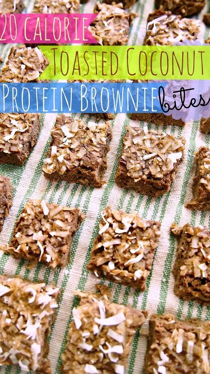 20 Calorie, Low Carb Toasted Coconut Brownie Bites!!! Made with Zucchini & Protein Powder!