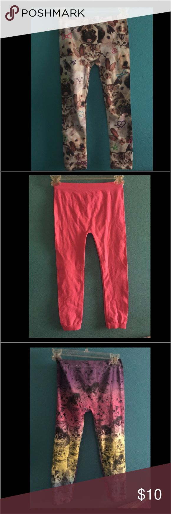 Leggings Cute, puppies, kittens and neon pink leggings. Pants Leggings