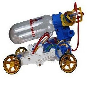 This air car from Powerplus is powered by pressurised air stored in the tank bottle and created by hand pumping.