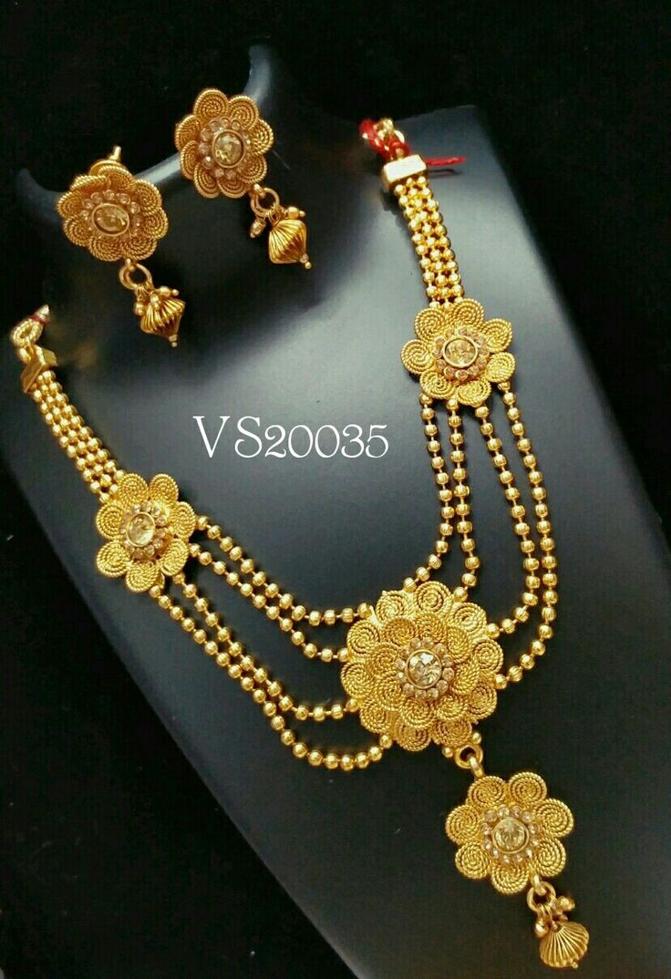 Indian Jewellery antique designer floral necklace earrings necklace set south indian jewellery