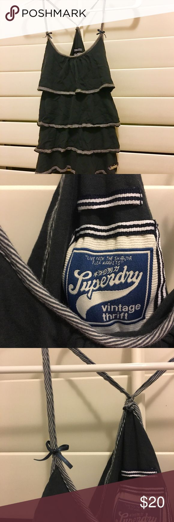 Superdry navy blue bow ruffled tank top In perfect condition Superdry Tops Tank Tops