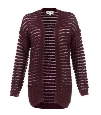 Burgundy Sheer Stripe Knitted Cardigan