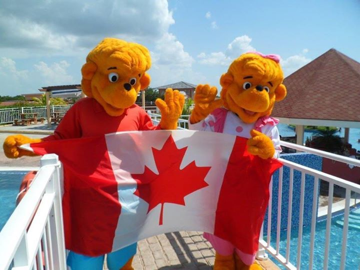 Brother and Sister Bear wish you a happy Canada's day from Memories Flamenco Beach Resort!
