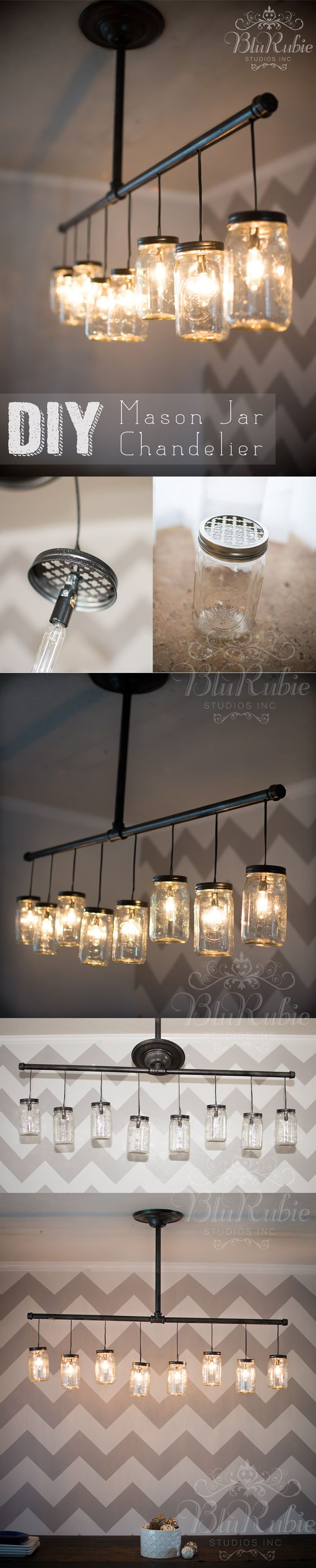 Pensacola Photography and Design | BluRubie Studios | DIY Mason Jar Chandelier, Light