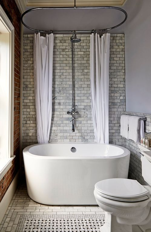 "Transitional 3/4 Bathroom with Carrara (Carrera) Venato Marble Honed 3x6"" Subway Floor and Wall Tile, Freestanding Bathtub"