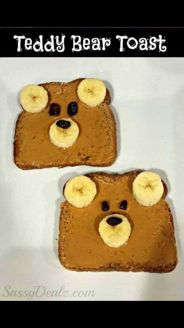 Teddy bear sandwich for Teddy Bear Picnic. Would need to use sunflower seed butter.
