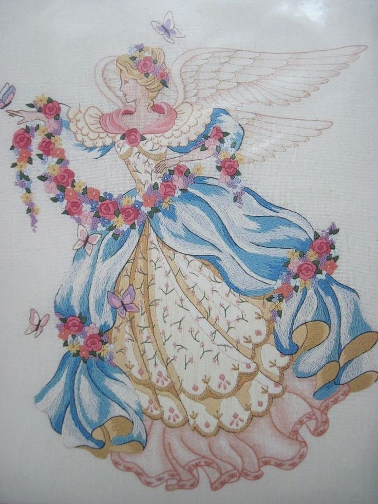 Dimensions Crewel Embroidery Kit Summer's Angel Roses Butterflies Pink Flowers #Dimensions