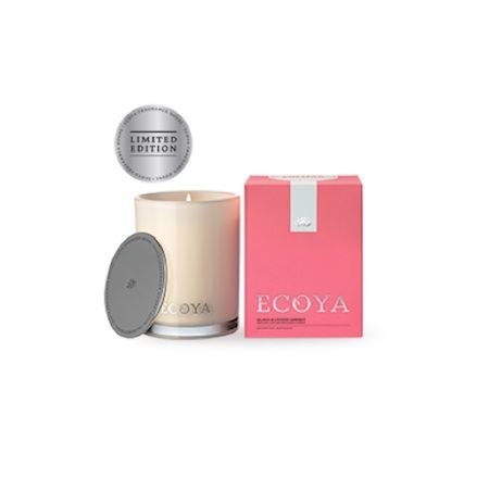 Ecoya Candle – Guava and Lychee Sorbet. 400gm soy wax candle in madison jar  Layers of delicious guava nectar interwoven with a sparkling sweetness of lychee, underpinned by voluptuous tropical berries.