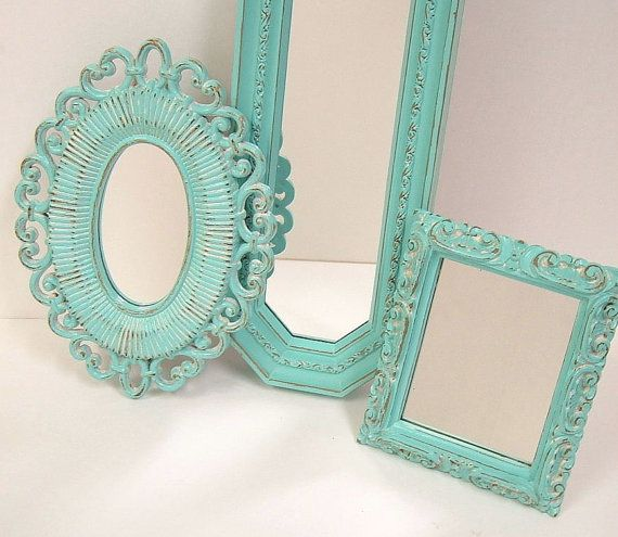 Shabby Chic Wall Mirrors Cottage Ornate Frames Turquoise Aqua Blue For Home Decor