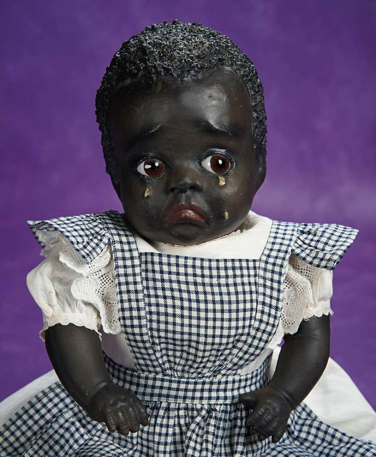 """Very Rare American Paper Mache Black Character Doll """"Cleota"""" Attributed to Leo Moss 4000/6000"""