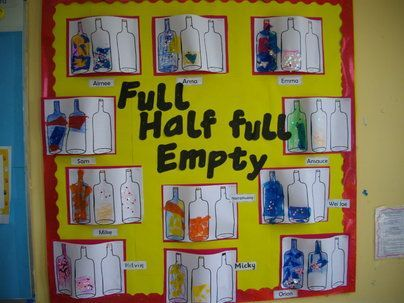 Half Full Art Display, Art and Colour, classroom displays, display, colour, creative, half full, Early Years (EYFS), KS1 & KS2 Primary Teaching Resources