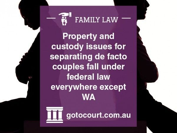 As a general rule most relationships aren't considered to be de facto unless the couple has lived together for two years without separation. However, there are exceptions.  Read more: De Facto Relationships | Family and Divorce Lawyers, Link: https://www.gotocourt.com.au/family-law/de-facto-relationships/